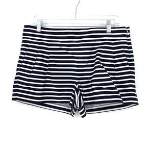 J. Crew Sz 10 Pleated Front Shorts Blue White